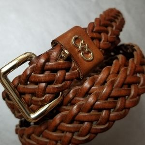 Cole Haan Woven Leather Belt Sz M Brown Braided